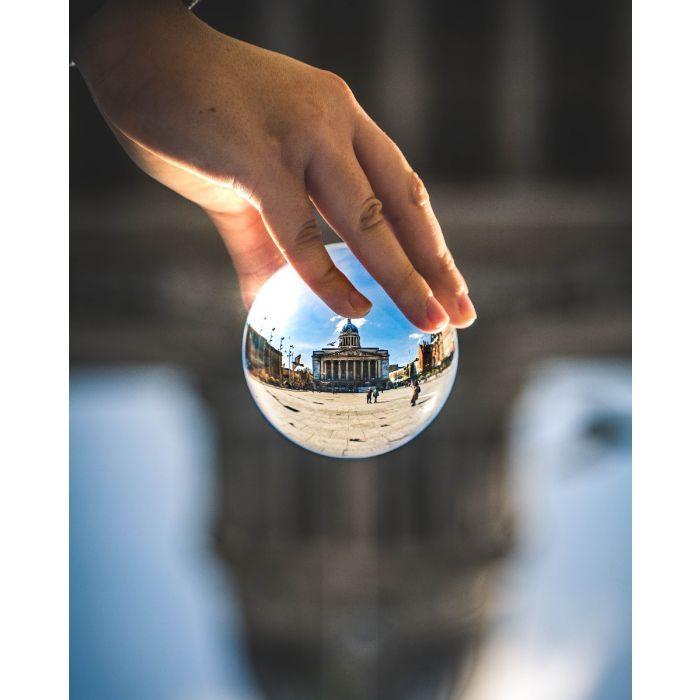 Massief Glazen Bollen.Rollei Lens Ball 90mm